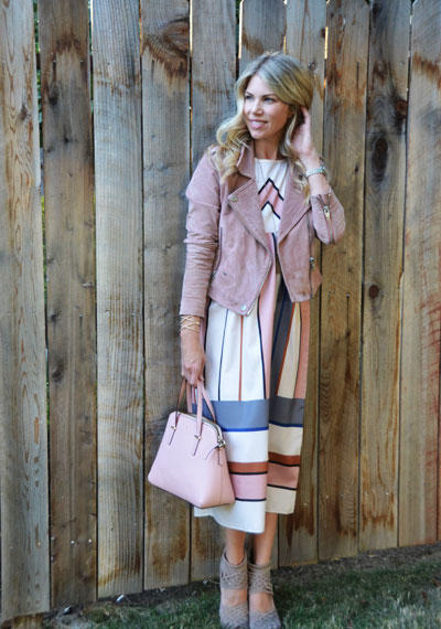 Blush Moto + Striped Dress